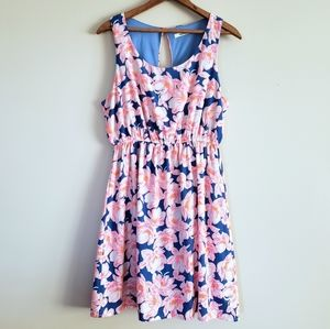 3/$20 pink and blue floral sleeveless dress